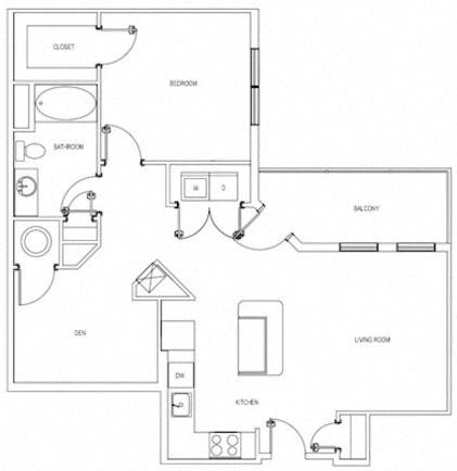 The Arlington One Bedroom Floorplan
