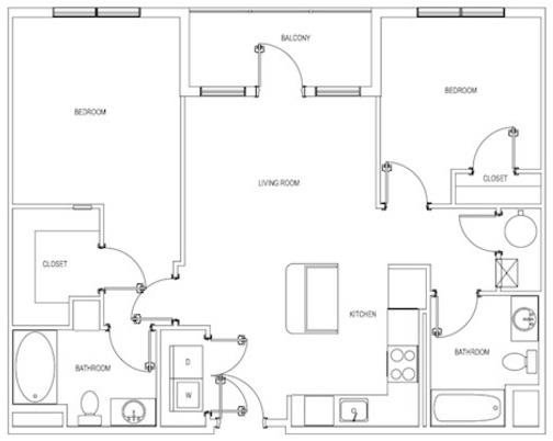 The Cambridge Two Bedroom Floorplan