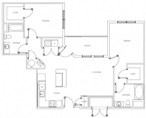 The Dallin Two Bedroom Floorplan