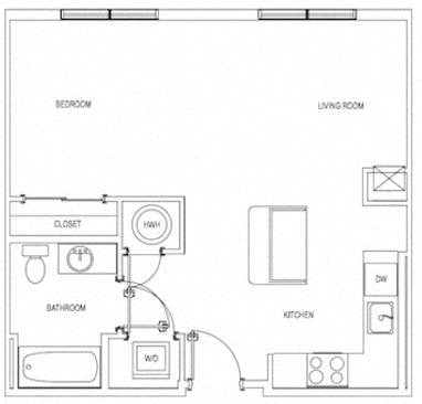 The Menotomy studio floorplan