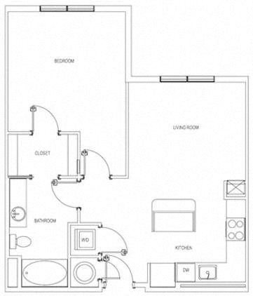 The Whittemore One Bedroom Layout