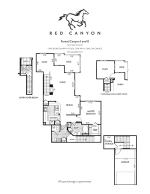 Forest Canyon  I & II - 1 Bed/1 Bath with Study