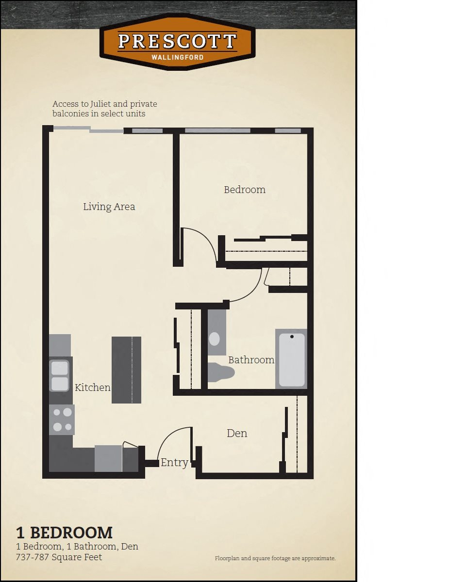 One Bedroom, Den 737 - 787 Floor Plan 1