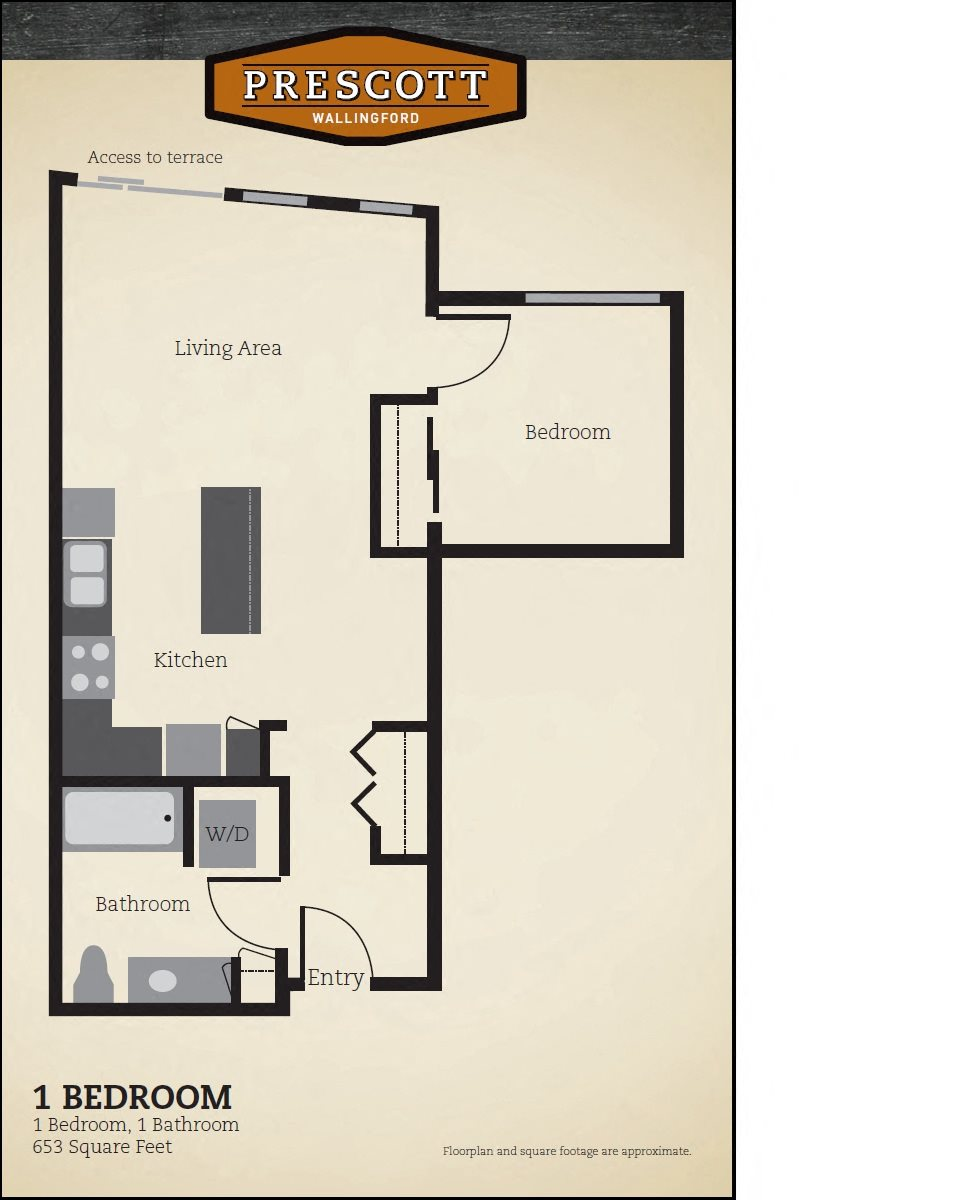 One Bedroom - 653 Sq. Ft Floor Plan 2