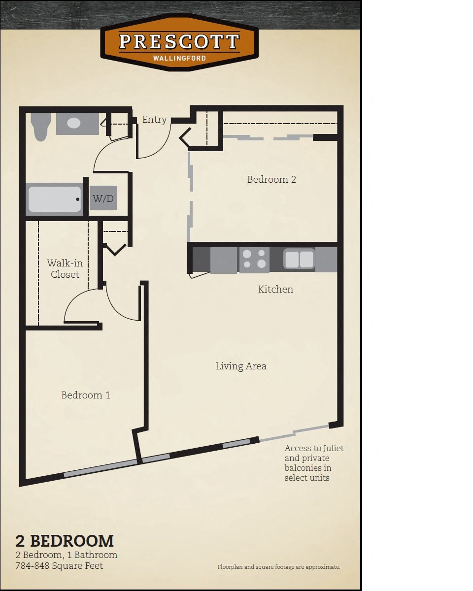 Two Bedroom One Bath - 784-848 Sq. Ft. Floor Plan 3