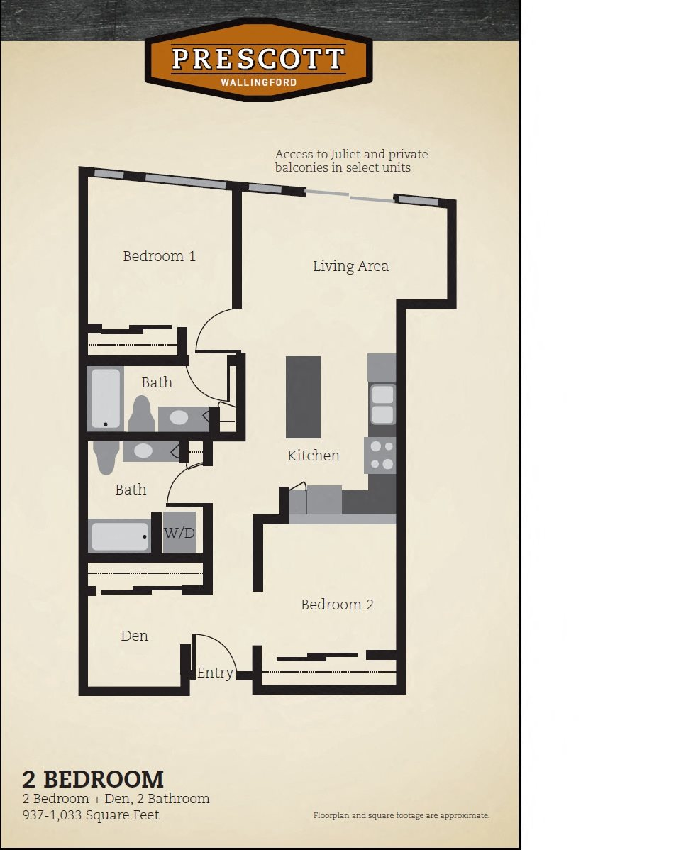 Two Bedroom Two Bath 937 -1033 Sq. Feet Floor Plan 5