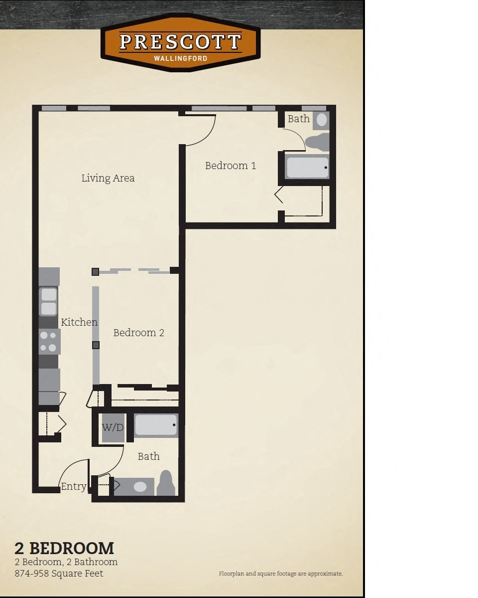 Two Bedroom Two Bath 874 - 958 Sq. Feet Floor Plan 6