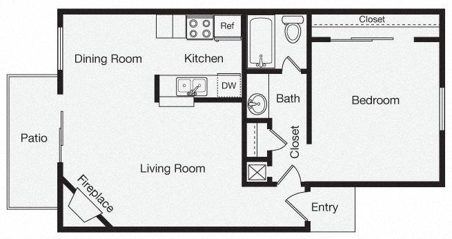 1 Bedroom Apartment Home Floor Plan 2