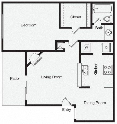 1 Bedroom Apartment Home Floor Plan 3