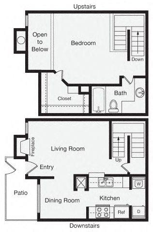 1 Bedroom Apartment Home Floor Plan 4