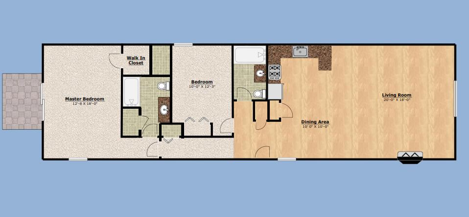 Two Bedroom/2 Bath Premium Floor Plan 3