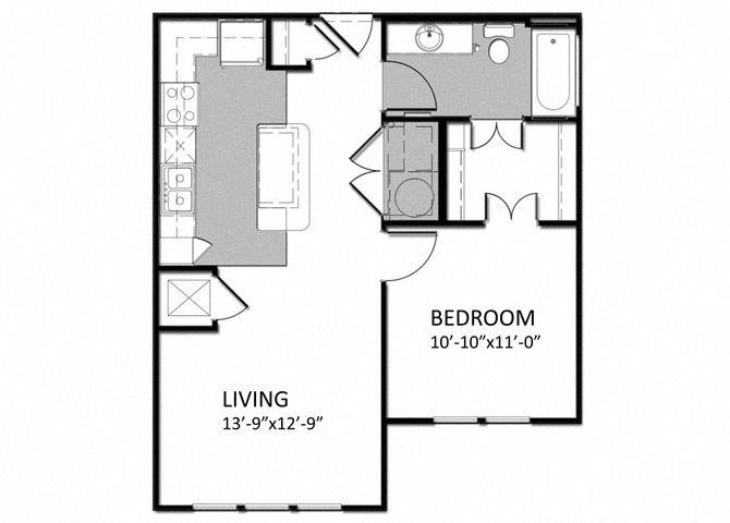A-1 1Bedroom - Alt Floor Plan 2