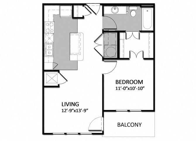 A-1 1Bedroom Floor Plan 3