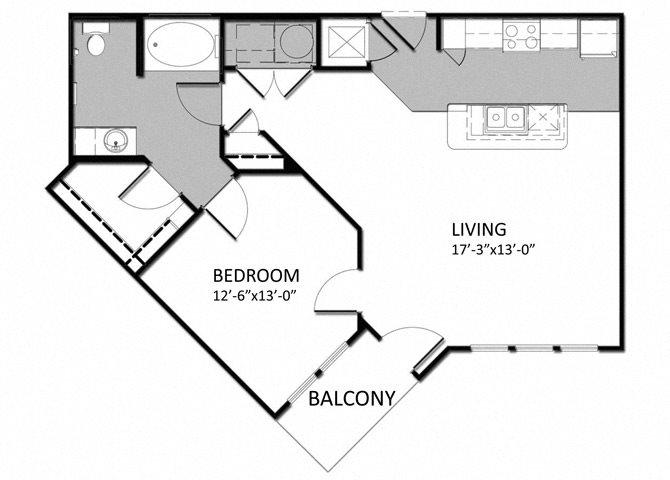 A-2 1Bedroom - Alt Floor Plan 5