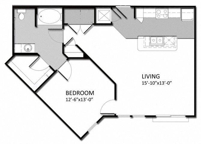 A-2 1Bedroom Floor Plan 4