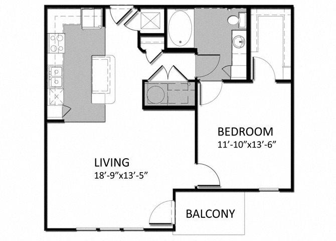 A-3 1Bedroom - Corner Floor Plan 8