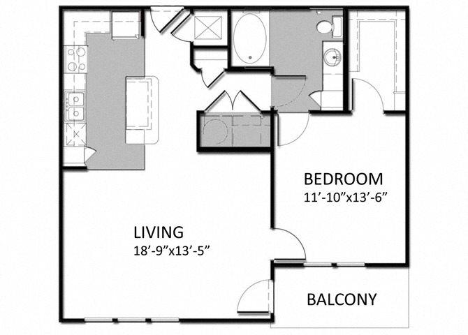 A-3 1Bedroom Floor Plan 6