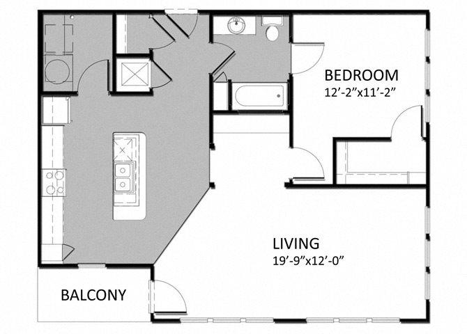 A-4 1Bedroom Floor Plan 9