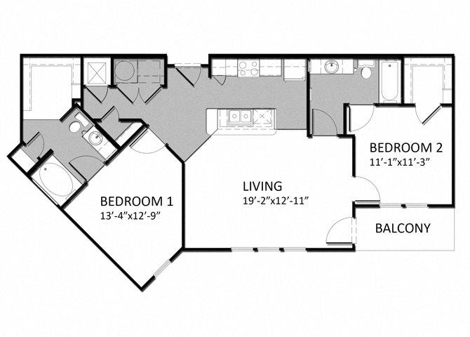 B-1 2Bedroom Floor Plan 10