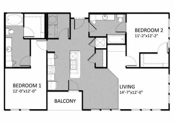 B-2 2Bedroom Floor Plan 11