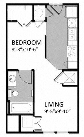E-1 Studio Floor Plan 1