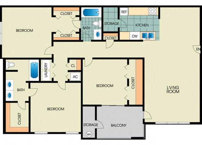Magnolia -3BD 2BTH Floor Plan 8