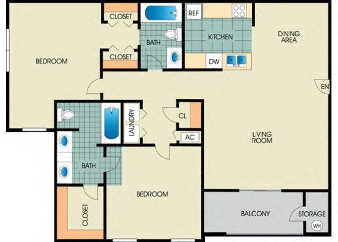 Iris -2BD 2BTH Floor Plan 5