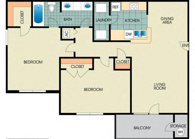 Jasmin -2BD 1BTH Floor Plan 4