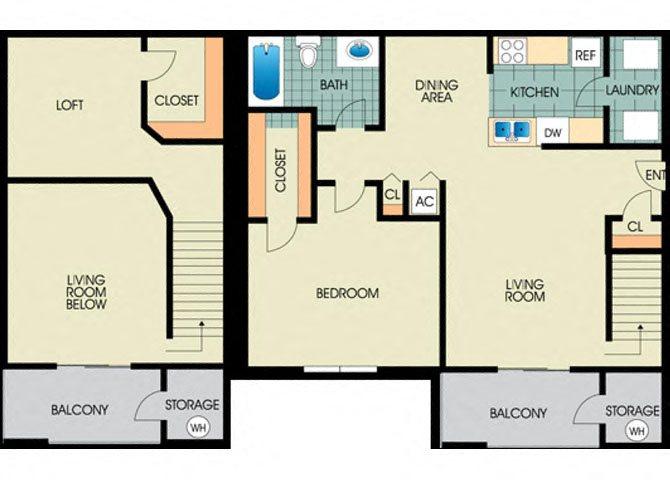 Sage -1BD 1BTH LOFT Floor Plan 3