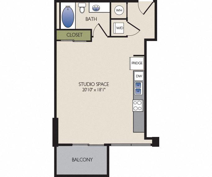 SkyHouse Dallas C2 floor plan 573 square feet Dallas, TX Apartments