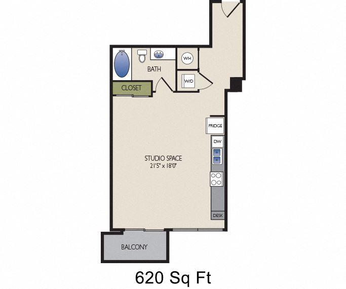 SkyHouse Dallas C1 floor plan 620 square feet Dallas, TX Apartments