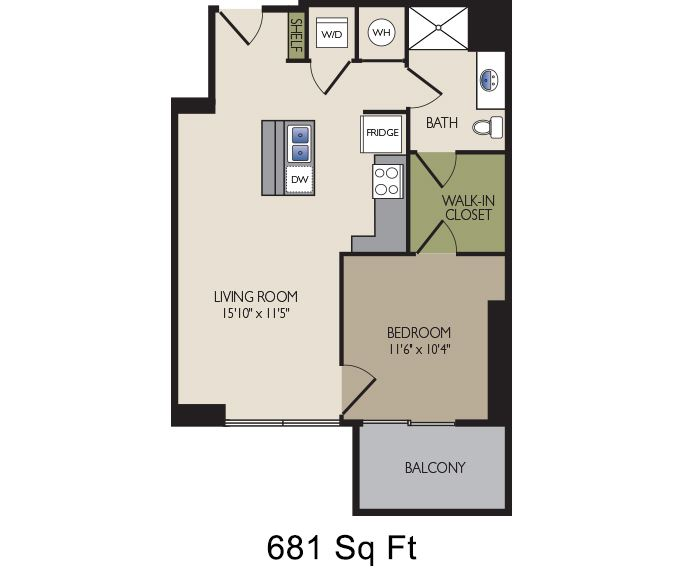 SkyHouse Dallas D2 floor plan 681 square feet Dallas, TX Apartments
