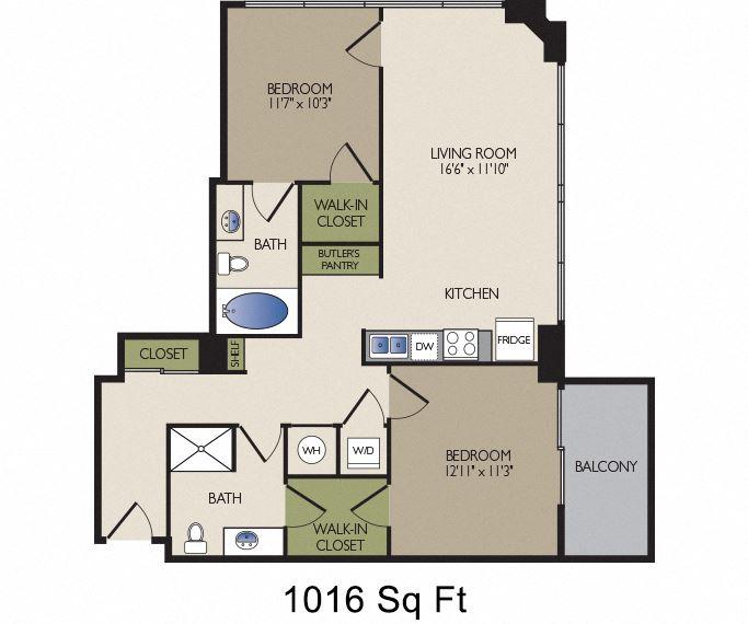 SkyHouse Dallas A1 floor plan 1016 square feet Dallas, TX Apartments