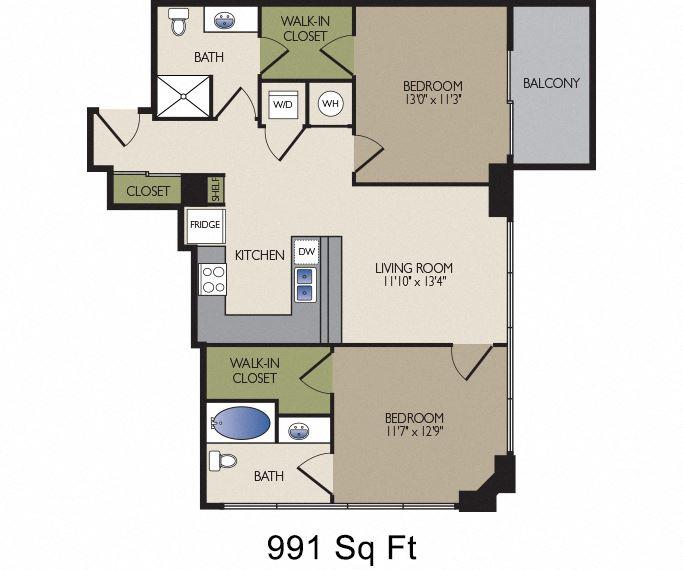SkyHouse Dallas A floor plan 991 square feet Dallas, TX Apartments