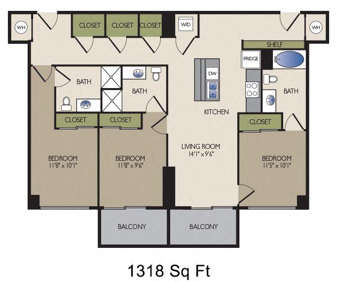 SkyHouse Dallas L floor plan 1318 square feet Dallas, TX Apartments