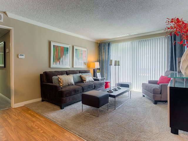 Large Living Room With Modern Amenities at Sage Creek Apartment Homes, Reseda, California