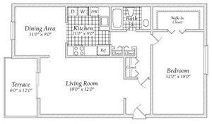 1 Bedroom Floorplan at Fairway I Apartments
