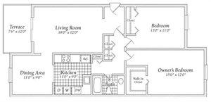 2 Bedroom Floorplan at Fairway I Apartments