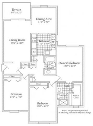 3 Bedroom Floorplan at Fairway I Apartments
