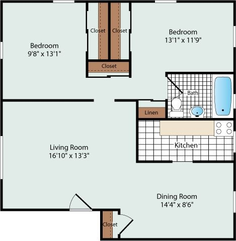 2 Bedroom Floorplan at Olde Salem Village