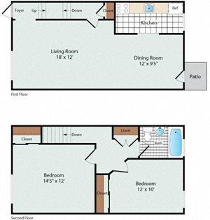 2 Bedroom Townhouse Floorplan at Olde Salem Village