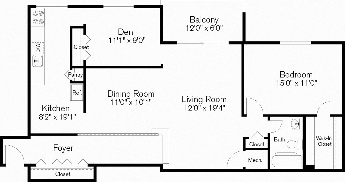 One Bedroom with Den Apartment, Beltsville, Maryland