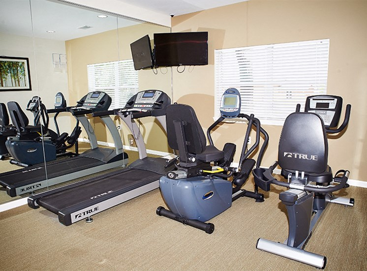 Fitness Center with treadmill and stationary bikes.