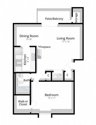 One Bedroom Apartment in Columbus, Indiana