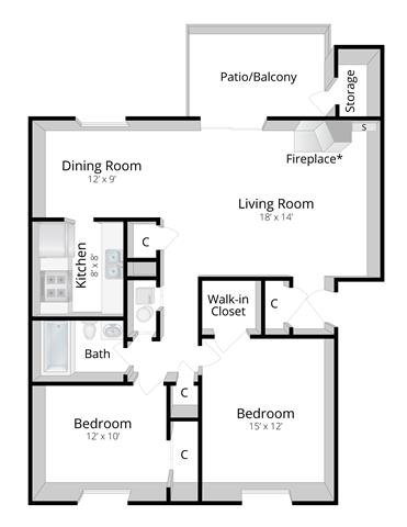 Two Bedroom Apartment in Columbus, Indiana