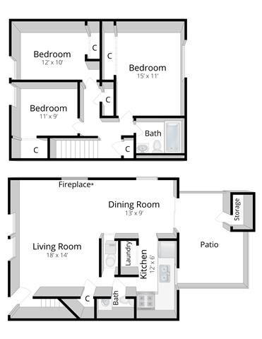 Three Bedroom Townhome in Columbus, Indiana