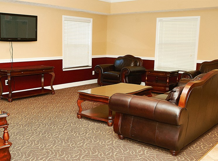 Clubhouse with seating and cable tv.