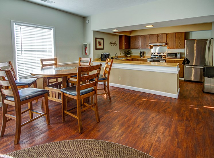 Clubhouse kitchen and dining is open to all residents at Briarwood Toledo