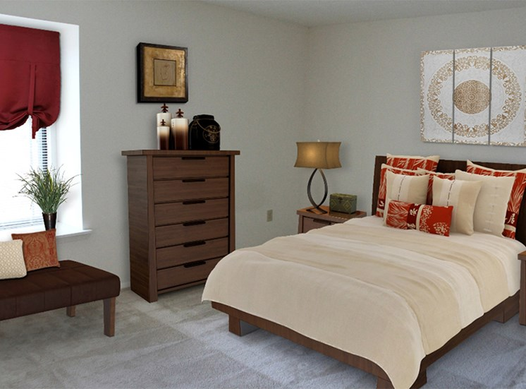 Spacious bedroom at Brookview Apartments