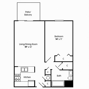 1 Bedroom Floorplan for Apt in Chesapeake VA
